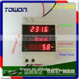 D52-2048 AC80-300V 100A Din rail LED voltmeter ammeter with active and reactive power and power factor 5in 1AC combo meter