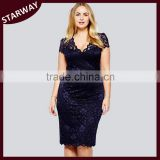 Fashion latest design PLUS SIZE 3XL black deep v neck lace evening dress/