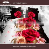 2015 hot sales floral design 3d printing brushed polyester bedsheet /bedding set fabric