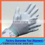 China Fabrication industry esd glove Electronic products processing esd glove PC assembly esd PU palm dipped work glove for sale