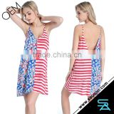 Latest Design Liberated American Flag Plunging Back Beachwear Resort Wear Dress