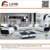 Suofeige modern black and white living room leather sectional sofa 666