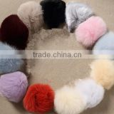 Fluffy 10cm Dyed Color Fox Fur Pompons Ball With Key ring