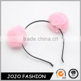 Wholesale metal cute girls wear hair hoop pink pom pom ball plush hair accessories for girls                                                                                                         Supplier's Choice