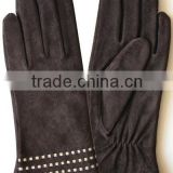 suede leather gloves with white dot