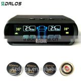 DIY wireless LCD TPMS tire pressure monitor systems with new 4 external sensors