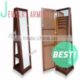 Rotating mirror jewelry cabinet jewelry armoire from China with rotating base for jewelry dispaly