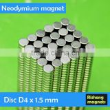 Strong NdFeB magnet disc Magnets D4x1.5mm