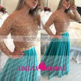 B01 Custom Made Off The Shoulder Long Sleeve Beach Style Chiffion Beaded Green Bridesmaid Dresses