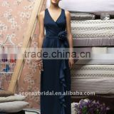 2011 deep blue full length v-neck sleeveless chiffon maid of honor dress best seller ZS-c0011