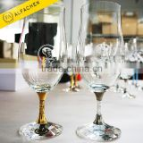 Filled Full Crystal Diamonds in the Stem Stainless Steel Ring Water Glassware Pint Beer Glass