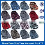 100% cotton yarn dyed flannel men's long sleeve soft stiff double collar dress shirt