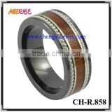 High quality wood inlaid unique ceramic finger ring