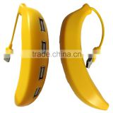 Fashion Banana Model Hi-speed USB 2.0 HUB With 4 Ports For Smartphones/MP3 Notebook/Tablet Computer PC Peripherals Accessories
