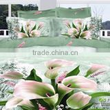 100% Cotton Lily Flower print bed linen 3d queen size duvet cover set