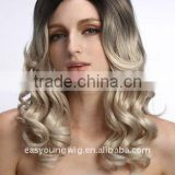 Abigail Hair Top quality 20 Inch Black end wavy end Blonded color synthetic wigs