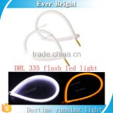 12V SMD 335 Flexible Soft Tube Guide flash Car LED Strip White DRL& Amber Turn Signal Light 60cm, 45cm
