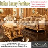 royal gold Louis XVI baroque antique carved luxury classic living room sofa set villa hotel lobby sofa furniture