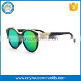 Latest fancy black frame gold arms eyeglasses with custom brand name