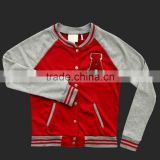 Custom MadeTop Quality Raglan Sleeved With Aplique Of Plain Autumn Baseball Jacket women