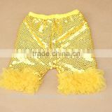 Latest Designs Summer Baby Yellow Sequins Cake Ruffle Lace Shorts Fashion Icing Boutique Toddler Shorts