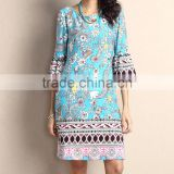 New Summer Women Dresses With Light Blue Floral Bell-Sleeve Shift Dress Women Flower Dress Women Clothes GD90426-54