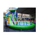 Outdoor Customized Inflatable Water Slide With A Big Pool Durable / UV-Resistance