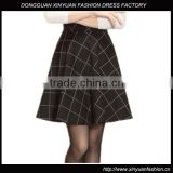 Hot Sale New Arrival High Waist Women Black Plaid Short Skirts,Wholesale Cheap Ladies Knit Plaid Printed Skirts