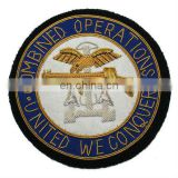 Combined Operation Hand Embroidered Gold Bullion Badge, patch, crest on Black Cloth