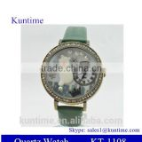 Women's and Girl's Analog Quartz Wrist Watch With diamante case,colorful leather band