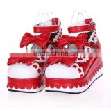 7 CM red bow campus Lolita shoes for girls