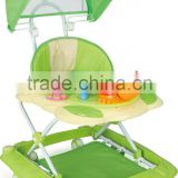 Round Plasitc Toy Out door Baby Walker With Push Bar and Canopy LW1531C