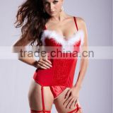Newest hot fashinal sexy ladies' marabou Christmas style Lingeries 284