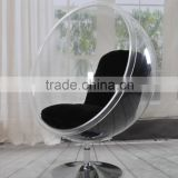 Cheap Clean Acrylic Ball Chair Unique Acrylic Egg Chair With Stainless Steel Stand For Sale