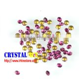 Hot selling jewelry decoration loose machine cut pointed back fuchsia stones, synthetic diamond stones with foiled back