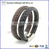 2015 wholesale braided plain leather bracelet wristband with stainless steel magnetic clasp oem customized