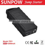 SUNPOW jump starter 12,000mAh 12V booster pack gasoline and diesel car jump starter battery charger super power bank