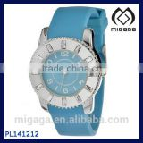 Fashion Cheap Baby Blue Silicone Band Analog Women's Watch with Alloy Case Silicone Strap