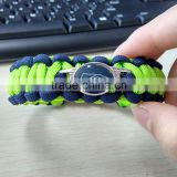 Football team logo paracord bracelet fashion three colors 550 parachute cord bracelet with cahrm logo wholesale