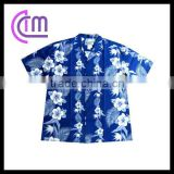 blue printing polyester cotton island shirts