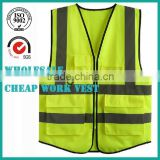 Construction Reflective working Safety Vest with Zipper for men the electrician sanitation workers
