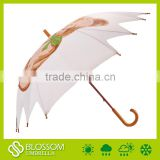 China auto open wood shaft irregular umbrella