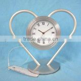 aluminum art metal desk clock,heart shape metal crafts table clock