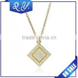 Dubai new fashion gold plated chains necklace jewelry square zircon pendant chain jewelry