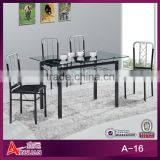 A-16 2013 new design modern black modern metal glass dining tables and chairs