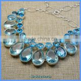 Wholesale Beautiful Light Blue Crystal Teardrop Choker Necklaces SGN-P016B
