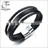 Fashion Multistrand Genuine Leather City Boy Magnetic Buckle Bracelet Wristband for Men Black