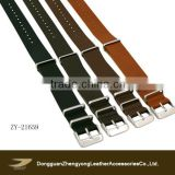 Stainless steel buckle genuine leather nato watch strap, leather watch band 22cm/24cm/26cm are available