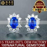 18 carat gold Sri Lanka natural sapphire Ear Studs Square diamond gem color female