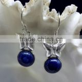 Lapis Butterfly Shaped Cabochon 925 Sterling Silver Earrings, Fashionable Bezel Earrings, Designer 925 Silver Earrings